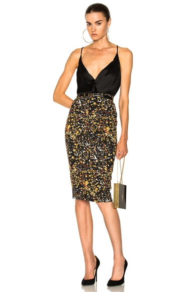 Marble Jacquard Pencil Skirt