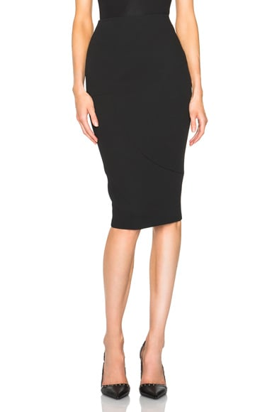 Victoria Beckham Light Matt Crepe Paneled Pencil Skirt in Black