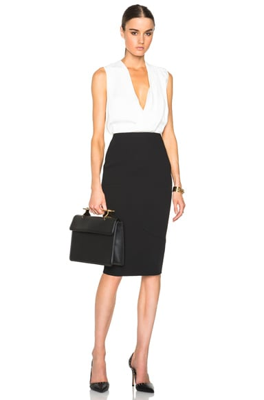 Light Matt Crepe Paneled Pencil Skirt