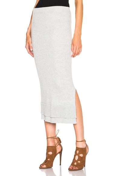 Victoria Beckham Felted Lambswool Skirt in Grey