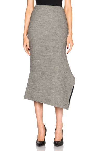 Victoria Beckham Stretch Melange Asymmetric Kick Skirt in Grey Melange