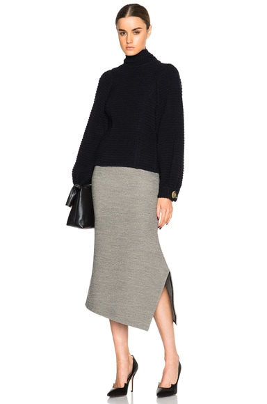 Stretch Melange Asymmetric Kick Skirt