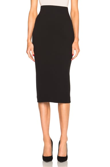 Victoria Beckham Double Crepe High Waisted Pencil Skirt in Black