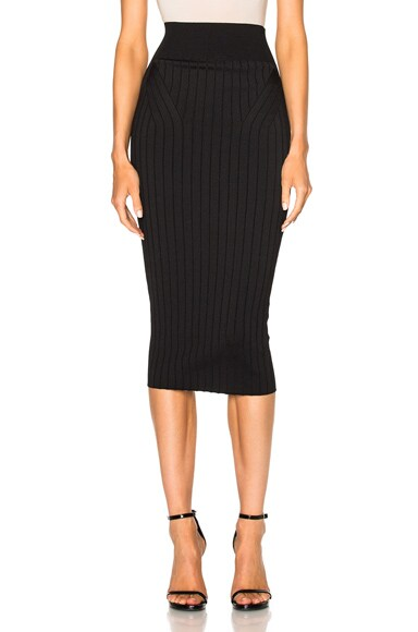 Victoria Beckham Elite Viscose Wide Rib Pencil Skirt in Black