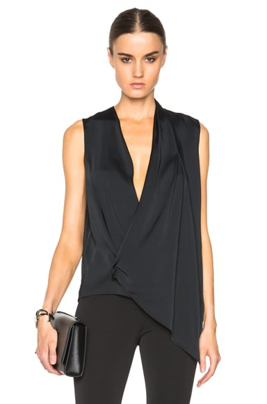 Victoria Beckham Matt Satin Asymmetric Drape Top in Black