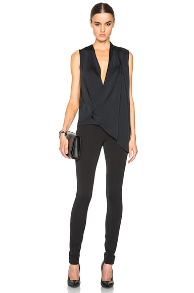 Matt Satin Asymmetric Drape Top