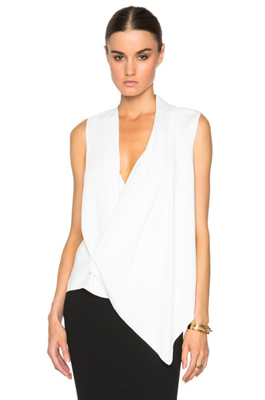 Victoria Beckham Matt Satin Asymmetric Drape Top in Cream