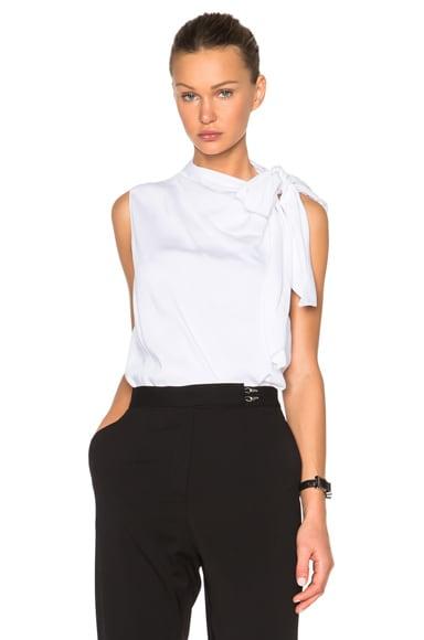 Victoria Beckham Heavy Matte Satin Sleeveless Tie Blouse in White