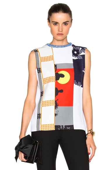 Victoria Beckham Sleeveless Multipatch Tee in Multi