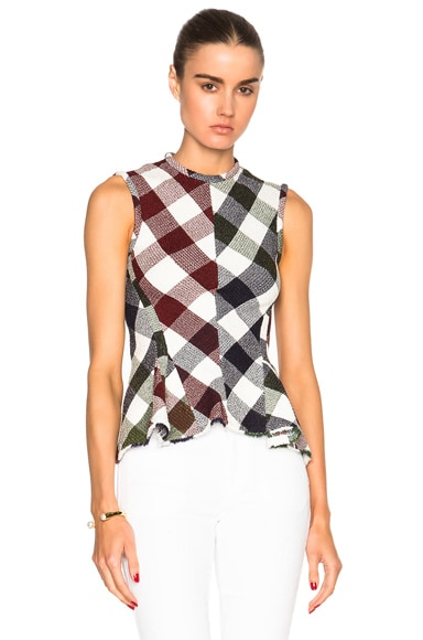 Victoria Beckham Bounce Gingham Sleeveless Godet Top in Red, Navy, Green & White