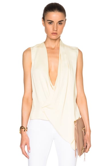 Victoria Beckham Heavy Matte Satin Asymmetric Drape Top in Buttermilk