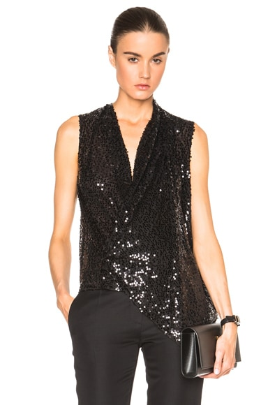 Victoria Beckham Sequin Asymmetric Drape Top in Black
