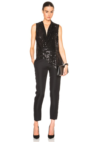 Sequin Asymmetric Drape Top