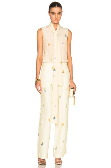 Victoria Beckham Crepe De Chine Earring Print Sleeveless Neck Tie Blouse in Ivory