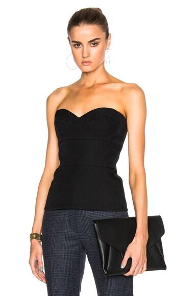 Victoria Beckham Wool Gabardine High Curved Bustier Top in Black