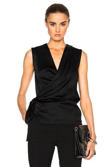 Victoria Beckham Satin Back Crepe Draped Blouse in Black