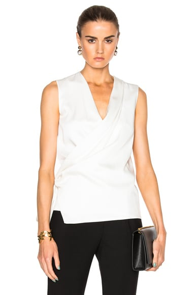 Victoria Beckham Satin Back Crepe Draped Blouse in Ivory