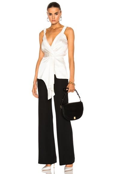 Victoria Beckham Silk Twill Wrap Top in Ivory