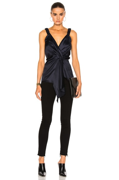 Victoria Beckham Silk Twill Wrap Top in Navy