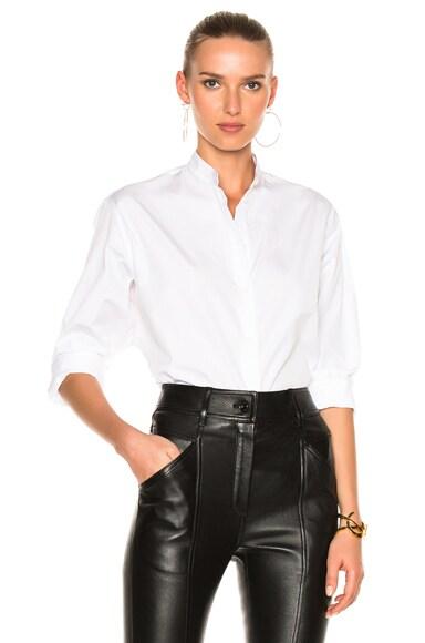 Victoria Beckham Cotton Shirting Grandad Shirt in White