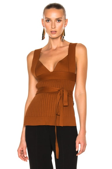 Victoria Beckham Irregular Knit Top w/Bra and Bow Detail in Copper