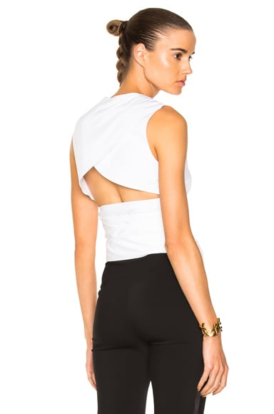 Cotton Shirting Belted Backless Top