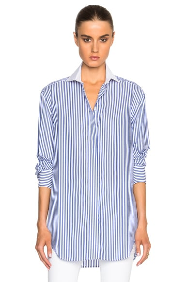 Victoria Beckham Stripe Shirting Man Shirt with Cufflinks in Blue & White