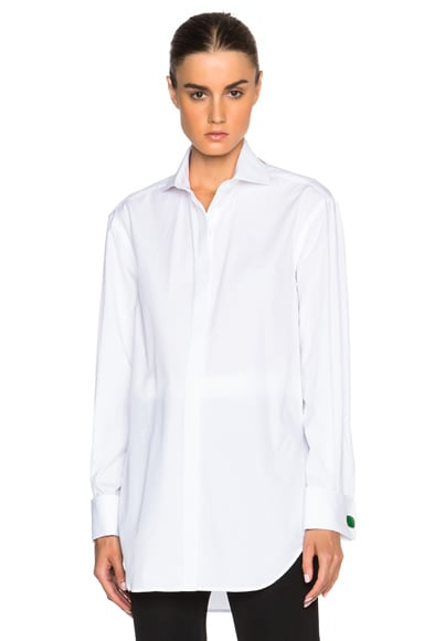 Victoria Beckham Cotton Shirting Man Shirt with Cufflinks in White