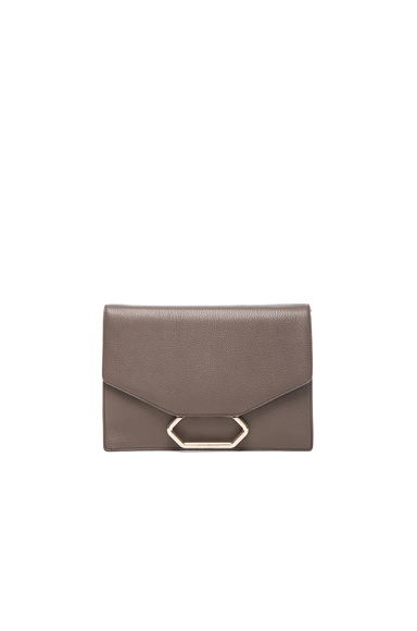 Victoria Beckham Grainy Calf Money Clutch in Mushroom
