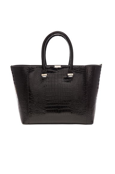 Victoria Beckham Liberty Printed Crocodile Tote in Black