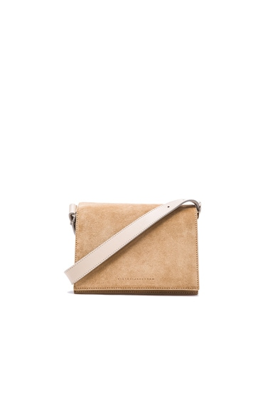 Victoria Beckham Mini Shoulder Bag in Beige Suede