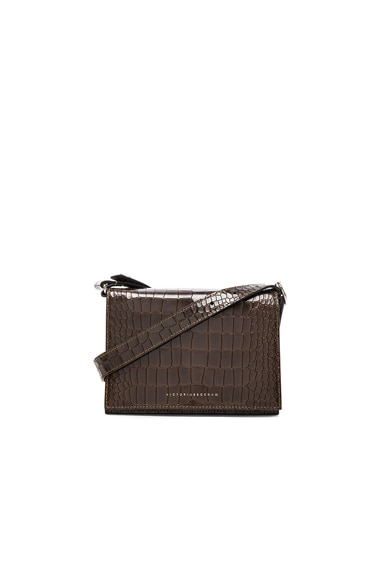 Victoria Beckham Printed Croc Mini Shoulder Bag in Olive Green