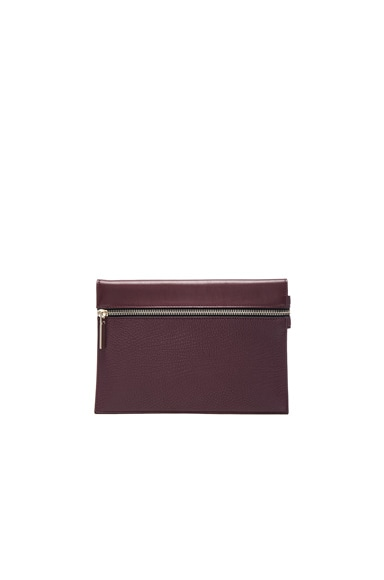 Victoria Beckham Grained Leather Small Zip Pouch in Burgundy