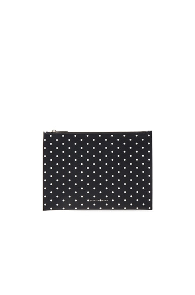 Victoria Beckham Printed PVC Large Simple Pouch in Navy