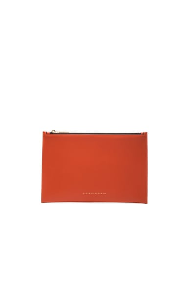 Victoria Beckham Small Simple Pouch Calf in Terracotta