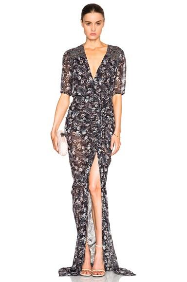 Veronica Beard Dominga Drawstring Maxi Dress in Black Floral