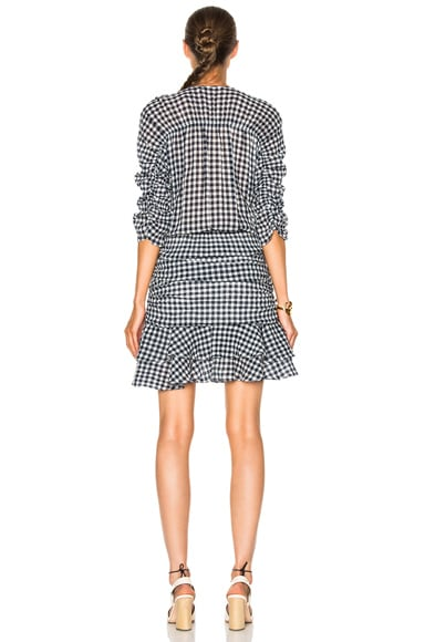 Campbell Ruched Sleeve V-Neck Dress