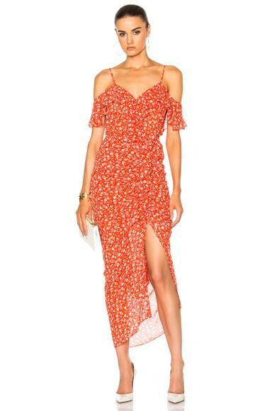 Marilyn Cold Shoulder Ruffle Midi Dress