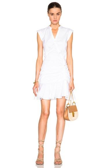 Veronica Beard Fountain Ruched Poplin Circle Skirt Dress in White
