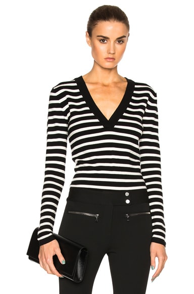 Veronica Beard Decade Striped Bodysuit in Black & Ivory