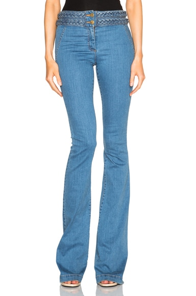 Veronica Beard Biscayne Braided High Waisted Jeans in Retro Blue