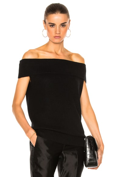 Veronica Beard Stone Off the Shoulder Sweater in Black