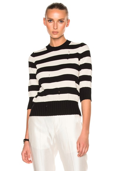 Veronica Beard Cape Dropped Stitch Sweater in Black & Off White