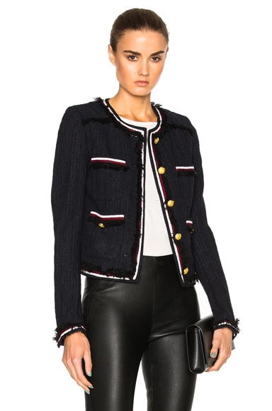 Veronica Beard Eclipse Fringe Trim Jacket in Black