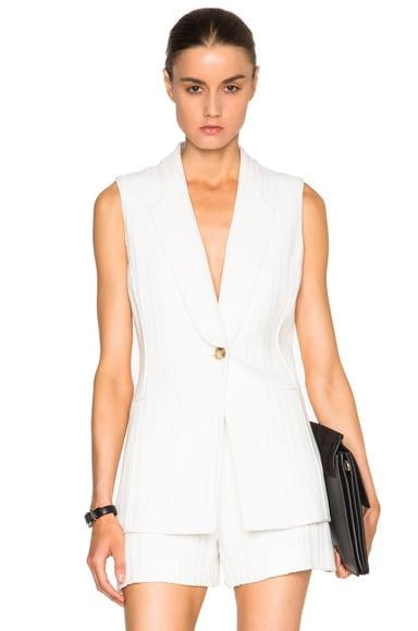 Veronica Beard Lucia Lapel Vest in White