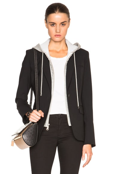 Veronica Beard Classic Blazer with Hoodie Dickey in Black & Grey