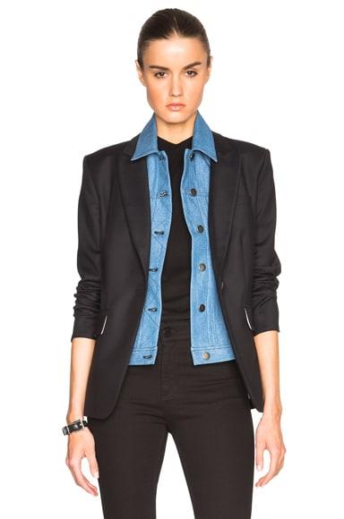 Veronica Beard FWRD Exclusive Cutaway Blazer with Denim Dickey in Black