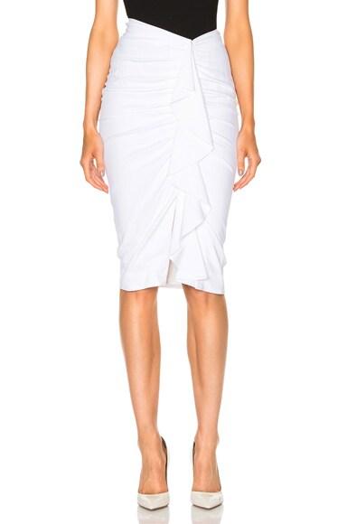 Veronica Beard Drew Cascade Ruffle Pencil Skirt in Ivory