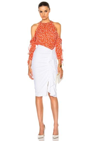 Drew Cascade Ruffle Pencil Skirt