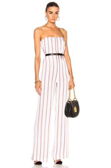 Veronica Beard Bandstand Strapless Jumpsuit in Black, Red & White